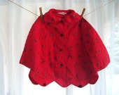 RESERVED Vintage Child's Robe, Red Quilted Bed Jacket With Harlequin Jesters, Two Sizes Available, Size 6 and 8.
