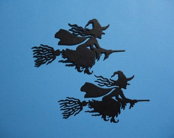Witch and Broomstick Embellishments x 2 for Scrapbooking Cards and Paper Crafts Halloween Witch Card Topper Flying