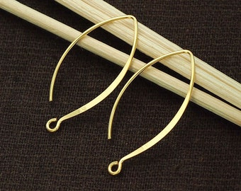 2 pairs of 925 Sterling Silver 24k Gold Vermeil Style Earwires 12x28 mm. :vm0019