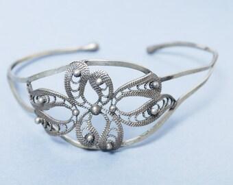 Vintage filigree cuff bracelet, silver tone metal