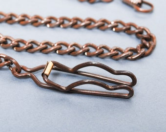 Antique metal chain, pocket watch chain with two clasps