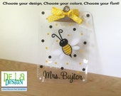 Personalized with name clear acrylic CLIPBOARD ONLY, bumblebee or other animal, design, polka dots, teacher, back to school gift