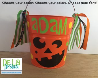 Halloween bucket: Personalized halloween trick or treat candy bag, metal bucket, 2 quart toddler size pail, pumpkin, jack o lantern design