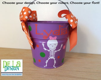 Halloween bucket: Personalized halloween trick or treat metal bucket, 2 quart, purple with girl skeleton, other colors and designs available