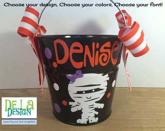 Personalized halloween trick or treat metal bucket, 2 quart toddler size pail, girl mummy design, other colors and designs available, candy