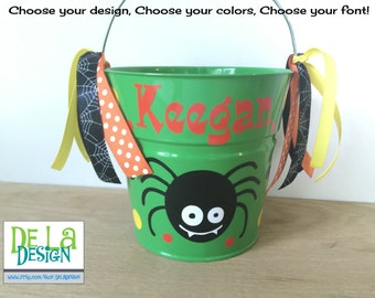 Personalized halloween trick or treat candy bag, metal bucket, 2 quart toddler sized pail, cute spider, other colors and designs available