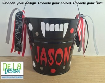Personalized halloween trick or treat metal bucket, 2 quart toddler size pail, vampire fangs design, dracula, candy, gift basket, birthday