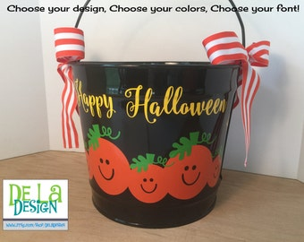 Halloween bucket: Personalized halloween trick or treat 10 quart metal bucket, black with family of pumpkins, name for passing out candy