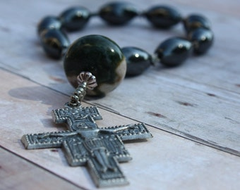 Hand made Rosary Chaplet In Large Hematite Barrel Beads and San Damiano Crucifix