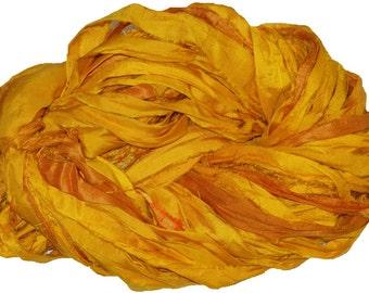 Recycled Sari Silk Ribbon Yarn, Yellow, 65 yards,  free shipping 3.5 oz / 100 grams free shipping