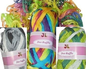 Clearance 300 gr Dee Ruffle Fishnet Net style yarn 3 colors mix08