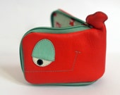 Red and Mint Whale leather wallet, genuine leather, cute foxes inside,  OOAK -ready to ship