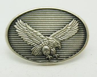VTG Silver HJ Sterling USA American Bald Eagle Freedom Bird Oval Lapel Pin Retro Patriotic American Americana Jewelry Accessory Old