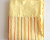 FULL Flat Yellow and Orange Striped Vintage Bed Sheet
