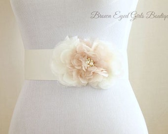 Blush Bridal Sash, Blush and Ivory Bridal Sash, Blush and Ivory Wedding Belt, Blush Bridal Belt - Blush and Ivory Bridal Sash