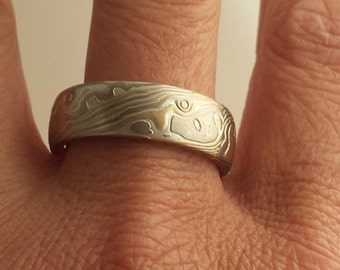 14k white gold 18k yellow gold with sterling silver random pattern etched mokume gane wedding band