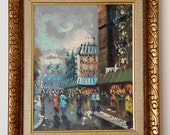 CITY Street Scene Oil PAINTING Signed Vintage Cityscape ~ Antonio DeVity ~ Beautiful Bold Colors ~ Italian or French City Paris