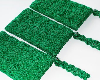 Personalized Clutch Bridesmaid Gifts, Bridesmaid Clutch Gifts Set of 3, Emerald Green Personalized Purses, Crochet Bags, CHOOSE YOUR COLOR