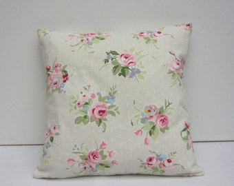 Pillow Cover, Cottage Chic,  Beige with Pink, floral pillow case, Pink Roses,  Cushion Cover,Various sizes 14 inch up to 24 inch