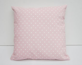 Pink Dotty Cushion Cover, Pink Polka Dot Pillow Cover, Cottage Chic, Decorative Pillow Cover, Various size options  14, 16, 17, 18, 20 Inch