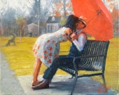 Original oil painting, A Kiss in Late Autumn, impressionist love romantic couple painting with red umbrella