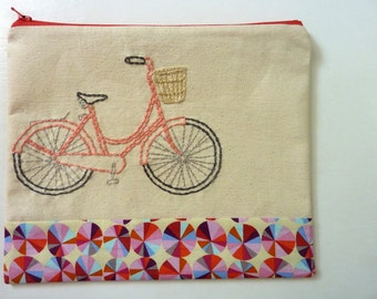 Bicycle Zipper Pouch in Mango. Hand Embroidered.