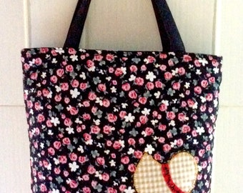 Quilted Bag Cotton Sue Applique Bag School Handbags Patchwork Bag Shopping bag-Tote Bag Black Color Cotton Fabric from Thailand