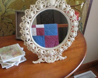 Vintage Victorian Cast Iron Art Mirror With Stand