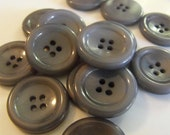 """15 Ash Gray Smooth Rim Round Buttons Size 15/16"""" Crafting Sewing"""
