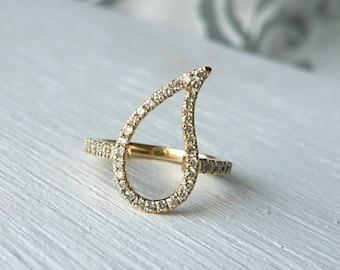 Paisley ring, Diamond pinky ring, gold pinky ring, paisley pinky ring, 14k gold pinky ring and diamonds