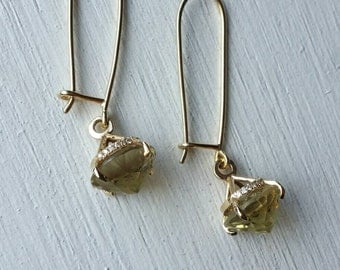 14k gold earrings with diamonds and Citrin, gold dangle earrings, daimond earrings, diamonds and gold