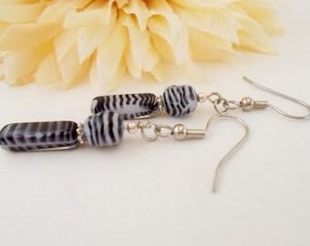 Zebra Earrings, Black and White Earrings, White and Black Czech Glass Beaded Earrings, Animal Print Modern Dangle Earrings