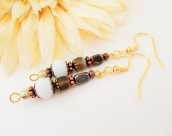 Brown and Copper Bohemian Dangle Earrings, White and Brown Czech Glass Jewelry, Antique Bronze and Ivory Glass Earrings