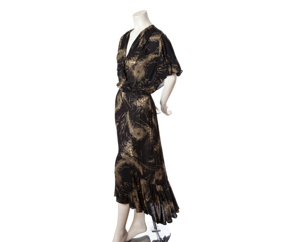 Vintage black & gold maxi dress -- 70s floor length maxi dress -- peacock feather print -- disco era cocktail gown -- size large / xl