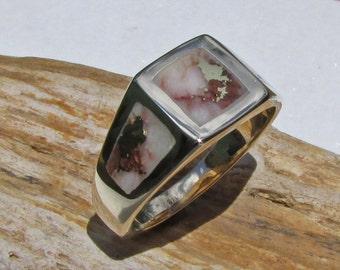 Gold Nugget Ring, Gold Veined Quartz Ring, Gold in Quartz Ring, Gold Nugget Quartz Ring, Raw Gold Nugget Rings, Natural Gold Nugget Ring