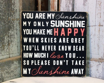 Personalized Baby Gift You Are My Sunshine You Make Me Happy Sign on Wood or Canvas,  Custom You Are My Sunshine Artwork, Baby gift, Nursery