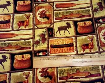 Adirondack Crossing Honey Multi Patch premium cotton fabric from Benartex - deer, wildlife, fish, trees, moose