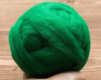 Wool Roving Needle Felting Supply, Kelly Green, Christmas Green, Domestic Wool, Wet Felting, Spinning, Felting Wool, Vibrant Green