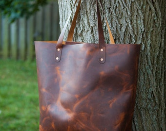 Large Full Grain Leather Tote