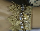 Camelot .. Gold Crown Bridal Cuff .. Winter Wedding .. Hand Made Gift .. Special Occasion Jewelry .. OOAK Cuff ..  FREE shipping worldwide