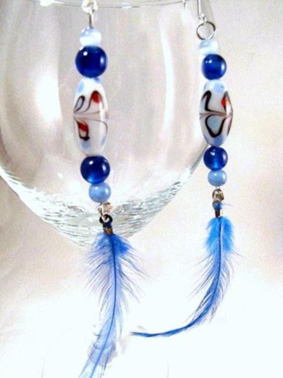 Boho, Bohemian, Blue, Feather Earrings, 5 inches long