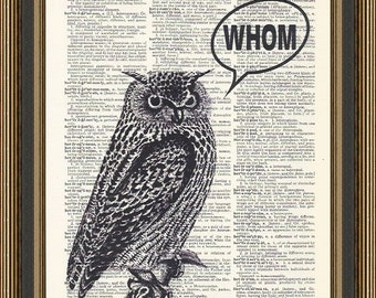 Owl Whom Grammar Typography Illustration Printed On A Vintage Dictionary  Page, Funny Grammar Print,