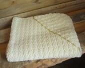 Ivory Crochet Baby Blanket with hood - unisex baby blanket