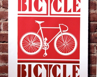 Bicycle Print Poppy Red and Oxblood