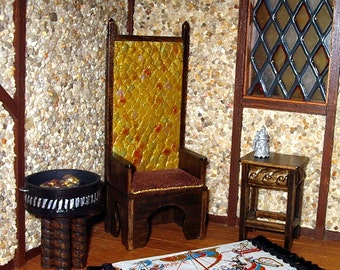 Dragon Scales King Chair, Medieval Dollhouse Miniature 1/12 Scale Size, Hand Made