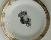 New Gold / Silver Skull Dishes - Platinum Skull Plates, Skull dinnerware, Halloween Plates, Halloween China, Payment Plans Available