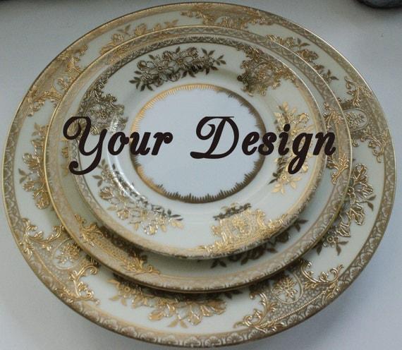Custom 3-Piece Personalized Place Setting Noritake Goldlinda Bespoke Dinnerware Custom Plates & Custom 3-Piece Personalized Place Setting Noritake Bespoke