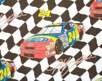 """Rare NASCAR Jeff GORDON #24 Checkered flag Race Car Fabric """""""""""