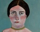 RESERVED - Original painting // Historical portrait - Portrait of a Woman // LEE 23 // original art - acrylic painting 5 x 5 panel