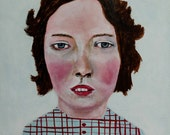 Original portrait painting // Girl in red striped blue checkered top // LEE 27 // original art - acrylic painting 5 x 5 panel